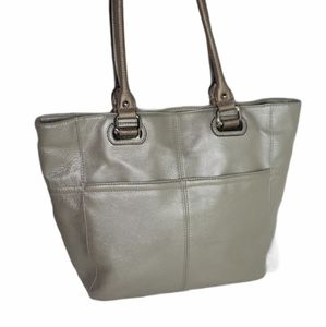Tignanello Leather Metallic Platinum Purse